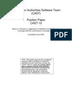 Certification Authorities Software Team (CAST) Cast 10