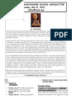 OMMS Newsletter for 5/21/2013