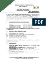 POLÍTICAS GENERALES INGENIERÍA DE LA CALIDAD 2013-1