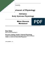 PHY2021 Water Diuresis Worksheet 2013