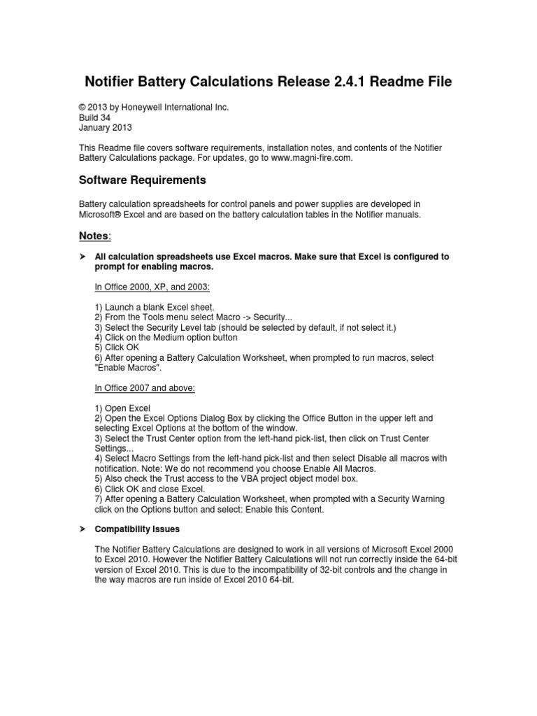 Notifier Battery CalculationsReadme Microsoft Excel Battery Charger - Notifier sfp 2404 wiring diagram