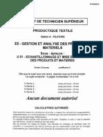 BTSPRODT Echantillonnage Et Mise en Oeuvre Des Produits Et Matieres 2003 FILATURE