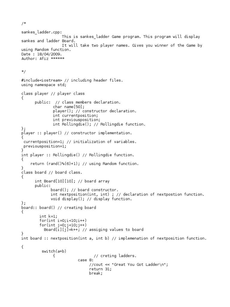Snakes ladders program in c object oriented programming snakes ladders program in c object oriented programming programming paradigms baditri Gallery