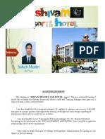 Industrial Hotel Training Report
