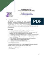 English I Pre-AP Syllabus Brosche 2013-2014