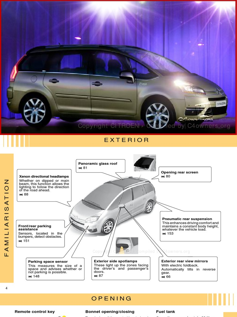 Citroen C4 PICASSO + Grand C4 PICASSO Owners Handbook | Automatic  Transmission | Manual Transmission