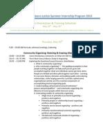 Intern Orientation Training Schedule 2013 t