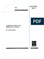 COVENIN 28-93 Cemento Portland Especificaciones