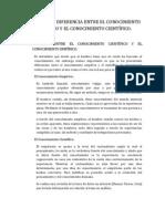 RELACIÓN  Y DIFERENCIA ENTRE EL CONOCIMIENTO EMPÍRICO Y EL CONOCIMIENTO CIENTÍFICO