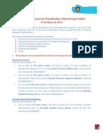 Acta Asamblea Gral. de Estudiantes de Odontología UdeC. 15-05-2013