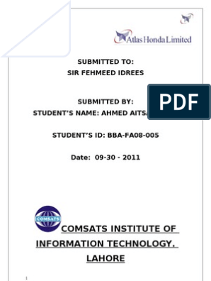 ATLAS HONDA internship report   Employment   Business