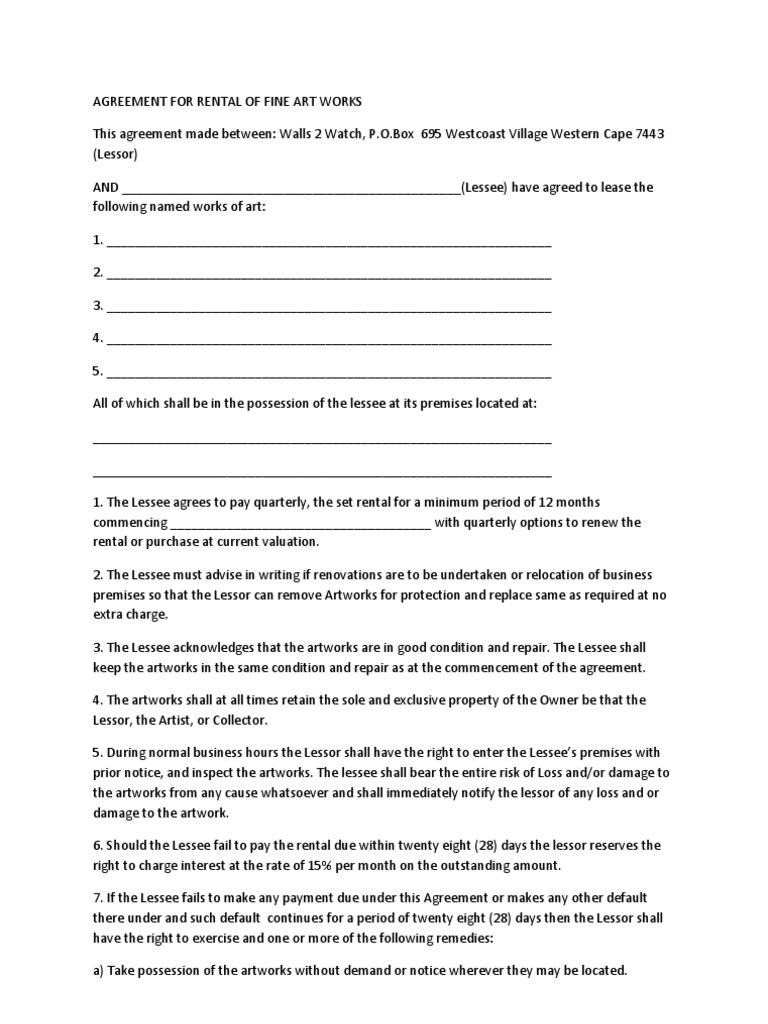 W2w Art Rental Agreement W2w Lease Private Law