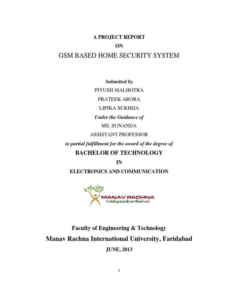 Project Report On Gsm Based Home Security System Alarm Pir Sensor And Using 8051 Light Emitting Diode