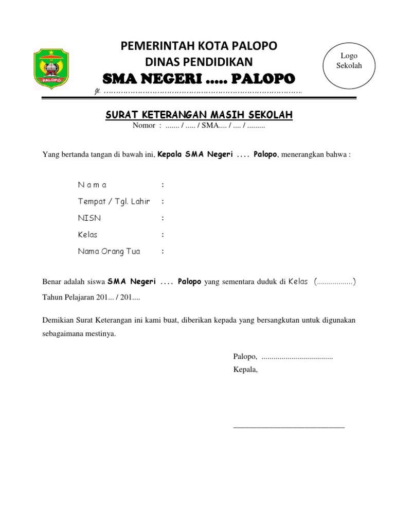 Contoh Surat Keterangan Masih Sekolah