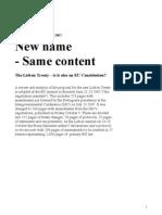 Lisbon Treaty -  New Name - Same Content En