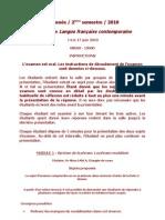 Sujets d'Examen LFC + Lexicologie