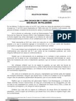 13/07/11 Germán Tenorio Vasconcelos REGISTRA OAXACA EN 13 AÑOS LAS CIFRAS MÁS BAJAS EN PALUDISMO