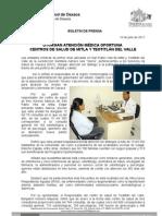 16/07/11 Germán Tenorio Vasconcelos OTORGAN ATENCIÓN MÉDICA OPORTUNA  CENTROS DE SALUD DE MITLA Y TEOTITLÁN DEL VALLE