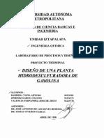 diseño de planta de gasolina