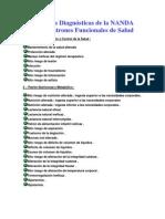 Etiquetas Diagnósticas de la NANDA según Patrones Funcionales de Salud