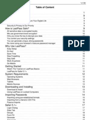 LastPass User Manual | Safari (Web Browser) | Password