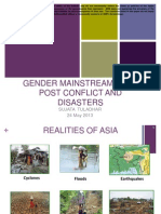 Gender Mainstreaming in Post Conlfict and Disasters