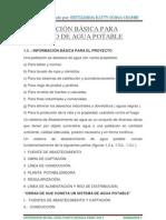 INFORMACIÓN BÁSICA PARA PROYECTO DE AGUA POTABLE
