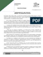 27/09/11 Germán Tenorio Vasconcelos se Reduce en 79 y 88% Casos de Dengue y Paludismo en El Estado