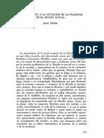 06. JOSEF PIEPER, Filosofar hoy, o la situación de la filosofía en el mundo actual