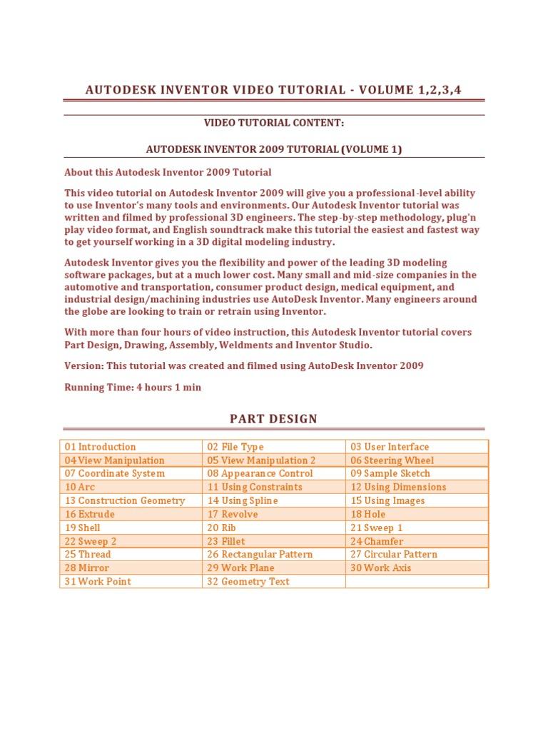 Video Tutorial Content: Autodesk Inventor 2009 Tutorial (Volume 1)