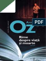 Amos Oz Rime Despre Viata Si Moarte