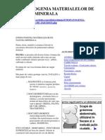 Etiopatogenia Materialelor de Natura Minerala