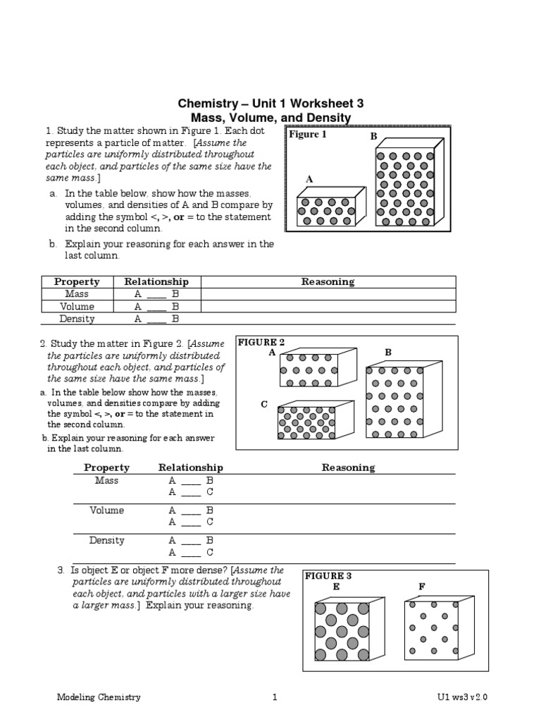 Worksheets Chemistry Unit 1 Worksheet 3 05 ws3 density matter