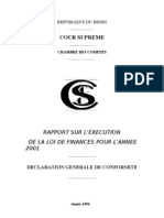 Rapport sur l'exécution de la LF 2001