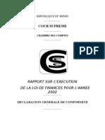 Rapport sur l'exécution de la LF 2002