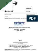 Digital cellular telecommunications system, resotration of VLR and HLR