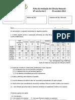 Ficha de Avaliação de CN 6ºE 25-101