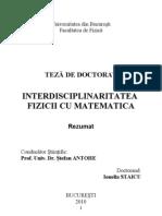Interdisciplinaritatea Fizicii Cu Matematica