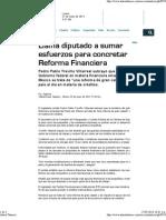 25-05-13 Llama Diputado a sumar esfuerzos por reforma financiera