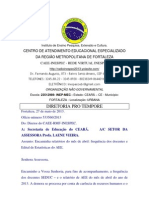 Ofício número 533560.2013SEDUC laene apresentando relatório de abril