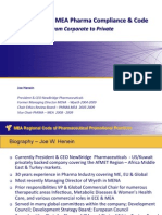 Reflections on MEA Pharma Compliance & Code from Corporate to Private