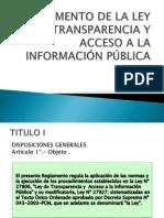 Reglamento de La Ley de Transparencia y Acceso