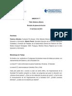 Taller Gobierno Abierto. Revisión de planes de Acción. 11 de Enero de 2013.