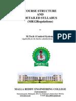 MREC MR12 MTech Control Systems Syllabus Book