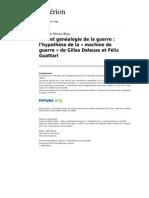 Asterion 425 3 Etat Et Genealogie de La Guerre l Hypothese de La Machine de Guerre de Gilles Deleuze Et Felix Guattari