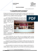 10/11/11 Germán Tenorio Vasconcelos INAUGURA GERMAN TENORIO VASCONCELOS IV CONGRESO NACIONAL DE ENFERMERÍA