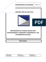 PROCEDIMIENTO DE TRABAJO SEGURO PARA ALMACENAMIENTO, TRANSPORTE, EMEREGENCIAS Y USO DE DENSÍMETRO NUCLEAR
