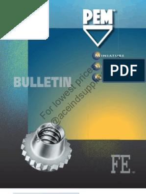 FEO-632-MD FEOX FEX FE FEO UL Pem Miniature Self-Clinching Fasteners Unified Types U