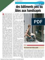 Le Nouvelle Gazette - deux tiers des bâtiments peu ou pas accessibles aux handicapés - 28.05.13