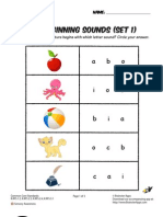 Beginning Sounds Phonics Worksheet
